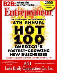 Named HOT 100 fastest growing companies Luke Draily Construction in Kansas City Missouri